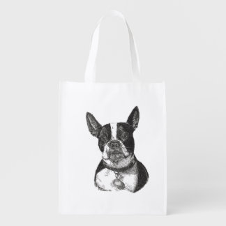 Boston Terrier Reusable Grocery Bag