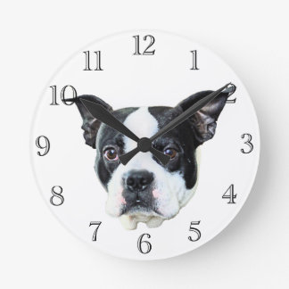 Boston terrier round clock