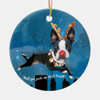 Boston Terrier Rudolph reindeer Holiday ornament