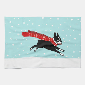 Boston Terrier Running in the Snow - Holiday Dog Tea Towel