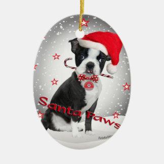 Boston Terrier santa Paws Christmas Ornament