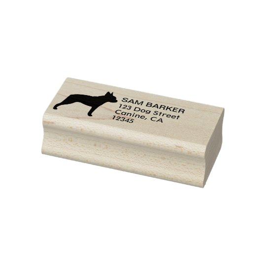 Boston Terrier Silhouette Return Address Rubber Stamp
