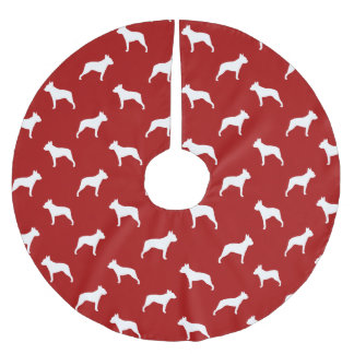 Boston Terrier Silhouettes Pattern Brushed Polyester Tree Skirt