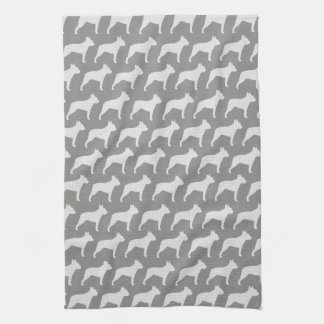 Boston Terrier Silhouettes Pattern Grey Hand Towel