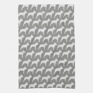 Boston Terrier Silhouettes Pattern Grey Tea Towel
