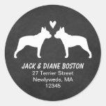 Boston Terrier Silhouettes Return Address Round Sticker