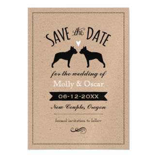 Boston Terrier Silhouettes Wedding Save the Date Magnetic Invitations