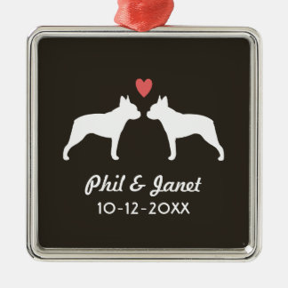 Boston Terrier Silhouettes with Heart and Text Christmas Ornament