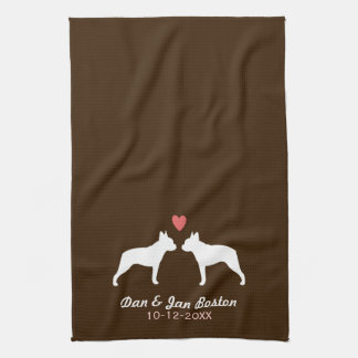 Boston Terrier Silhouettes with Heart and Text Tea Towel