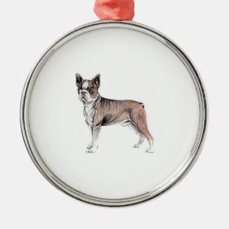 Boston Terrier Silver-Colored Round Decoration