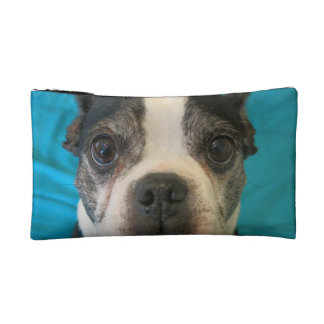 Boston Terrier sitting on bed Makeup Bag
