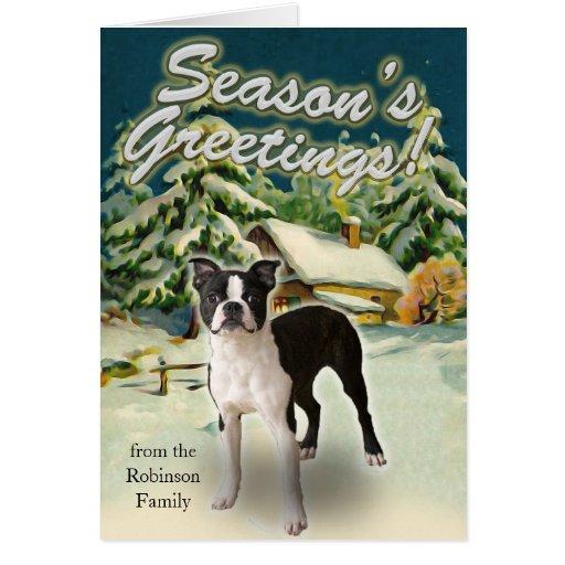 Boston Terrier Snow Cabin Christmas Cards
