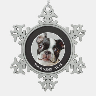Boston Terrier Snowflake Pewter Christmas Ornament