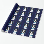 Boston Terrier Snowflakes Holiday Wrapping Paper