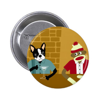 Boston Terrier & Sock Monkey 6 Cm Round Badge