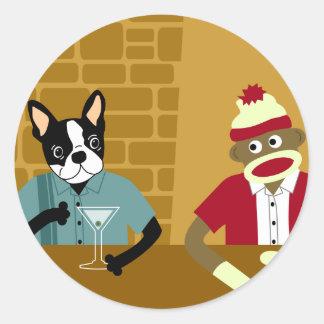 Boston Terrier & Sock Monkey Round Sticker