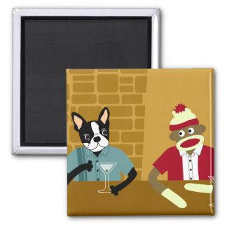 Boston Terrier & Sock Monkey Square Magnet
