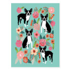 Boston Terrier Spring flowers -cute boston terrier Postcard