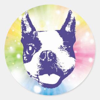 Boston Terrier Sunburst Classic Round Sticker