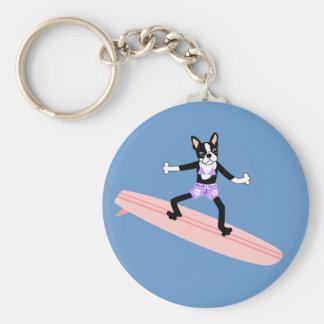 Boston Terrier Surfer Girl Basic Round Button Key Ring