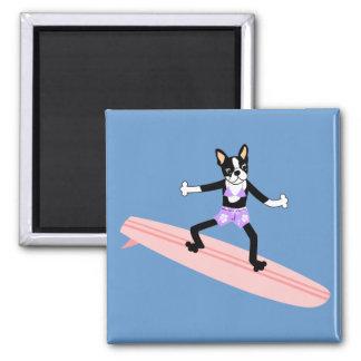 Boston Terrier Surfer Girl Magnet