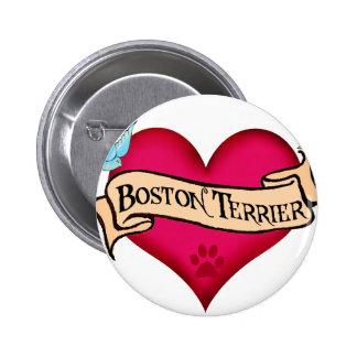 Boston Terrier Tattoo Heart 6 Cm Round Badge