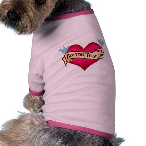 boston terrier tattoo heart t shirts apparel gifts for boston terrier