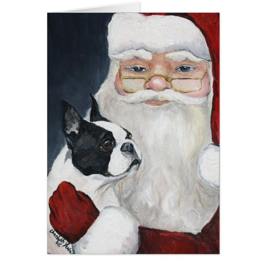 """Boston Terrier Tells Santa"" Art Christmas Card"