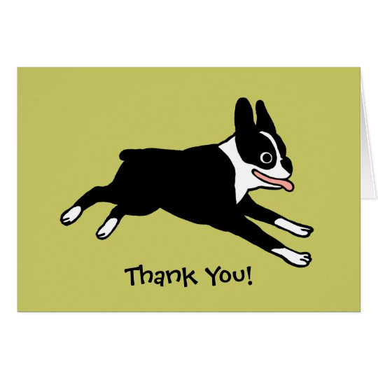 Boston Terrier Thank You (Customisable) Card