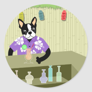 Boston Terrier Tiki Bar Classic Round Sticker