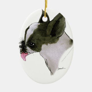 boston terrier, tony fernandes ceramic oval decoration