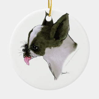 boston terrier, tony fernandes round ceramic decoration