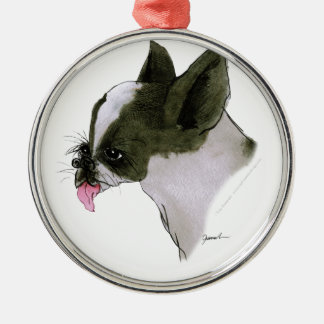 boston terrier, tony fernandes Silver-Colored round decoration