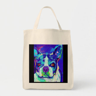 "Boston Terrier Tote ""Blue Dog"""