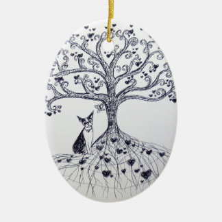 Boston Terrier Tree of Life Black and white Ceramic Oval Decoration