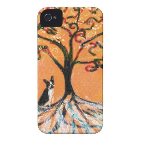 Boston Terrier tree orange Case-Mate iPhone 4 Cases
