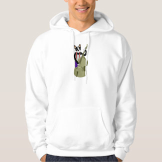Boston Terrier Upright  Bass Player Hoodie