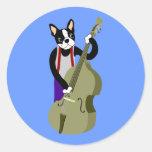 Boston Terrier Upright  Bass Player Round Sticker
