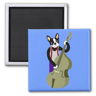 Boston Terrier Upright  Bass Player Square Magnet