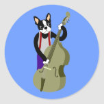 Boston Terrier Upright  Bass Player Classic Round Sticker