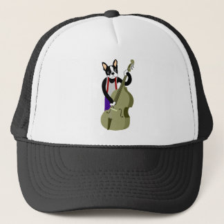 Boston Terrier Upright  Bass Player Trucker Hat