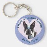 Boston Terrier v3 Basic Round Button Key Ring