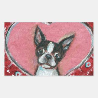 Boston Terrier Valentine xoxo Love hearts Stickers