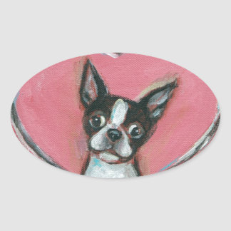 Boston Terrier Valentine xoxo Love hearts Sticker