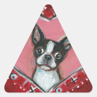 Boston Terrier Valentine xoxo Love hearts Triangle Stickers