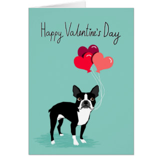 Boston Terrier Valentines Day Card - Cute Dog Card
