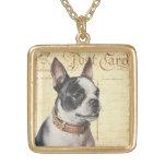 Boston Terrier Vintage Dog Portrait Boston Bull Necklace