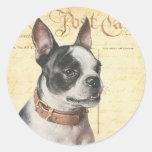 Boston Terrier Vintage Dog Portrait Boston Bull Round Sticker