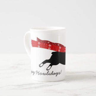 Boston Terrier Wearing Red Scarf - Custom Text Bone China Mug