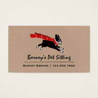 Boston Terrier Wearing Red Winter Scarf Business Card